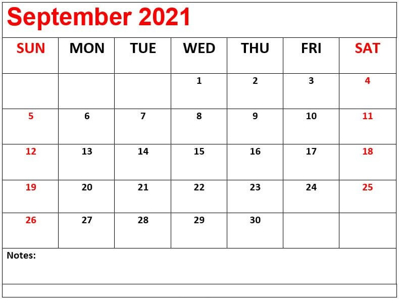 2021 Printable September Calendar Template