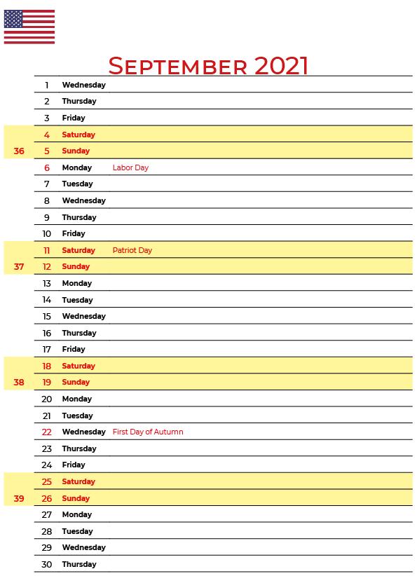 2021 September USA Holidays Calendar