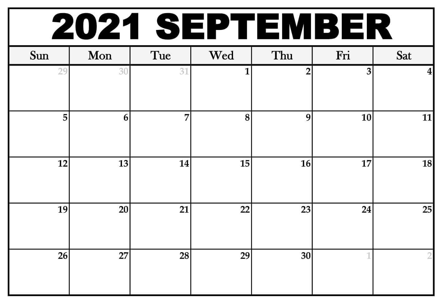 Blank Printable September 2021 Calendar