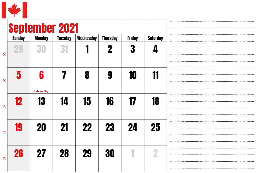 Canada Holidays Calendar September 2021