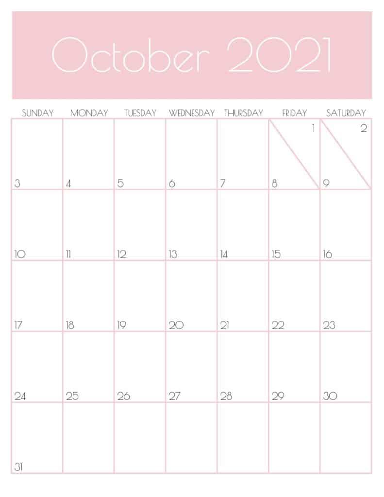 Cute October 2021 Calendar Design