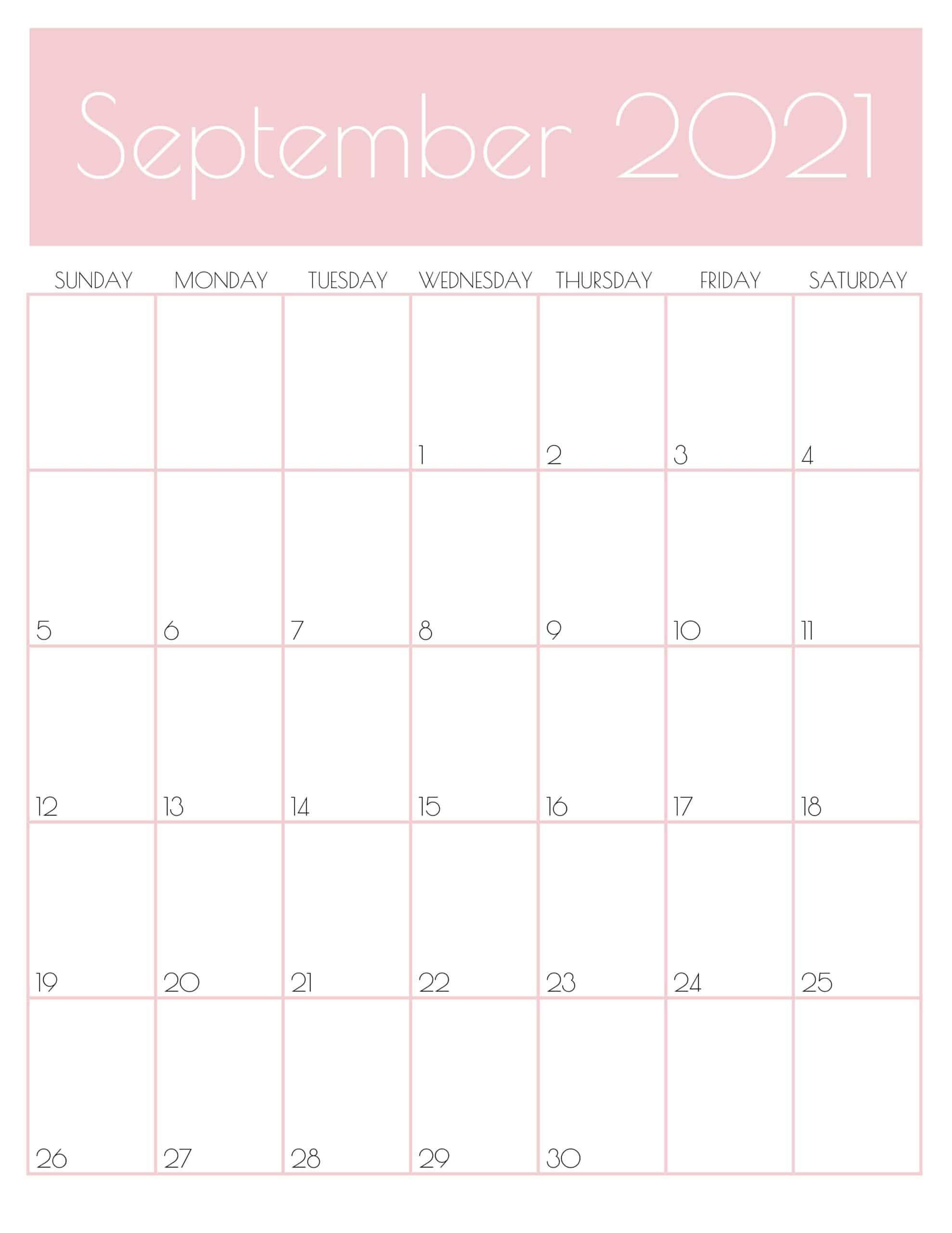 Cute Sep 2021 Printable Calendar