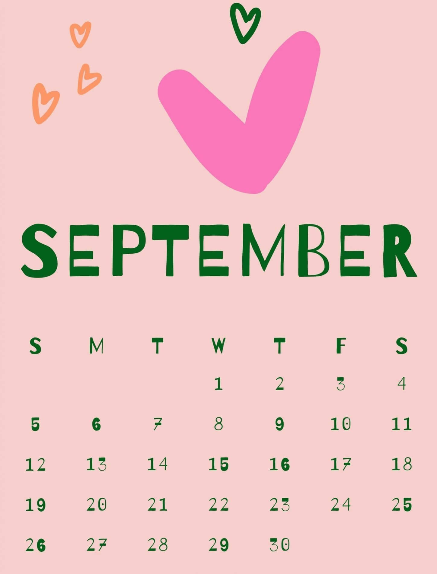 Cute September 2021 Calendar Design