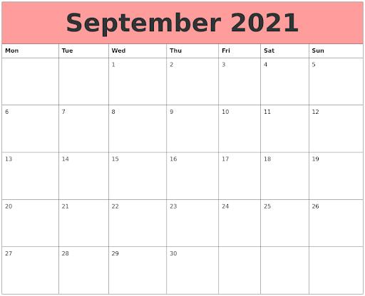 Cute September 2021 Calendar Pink