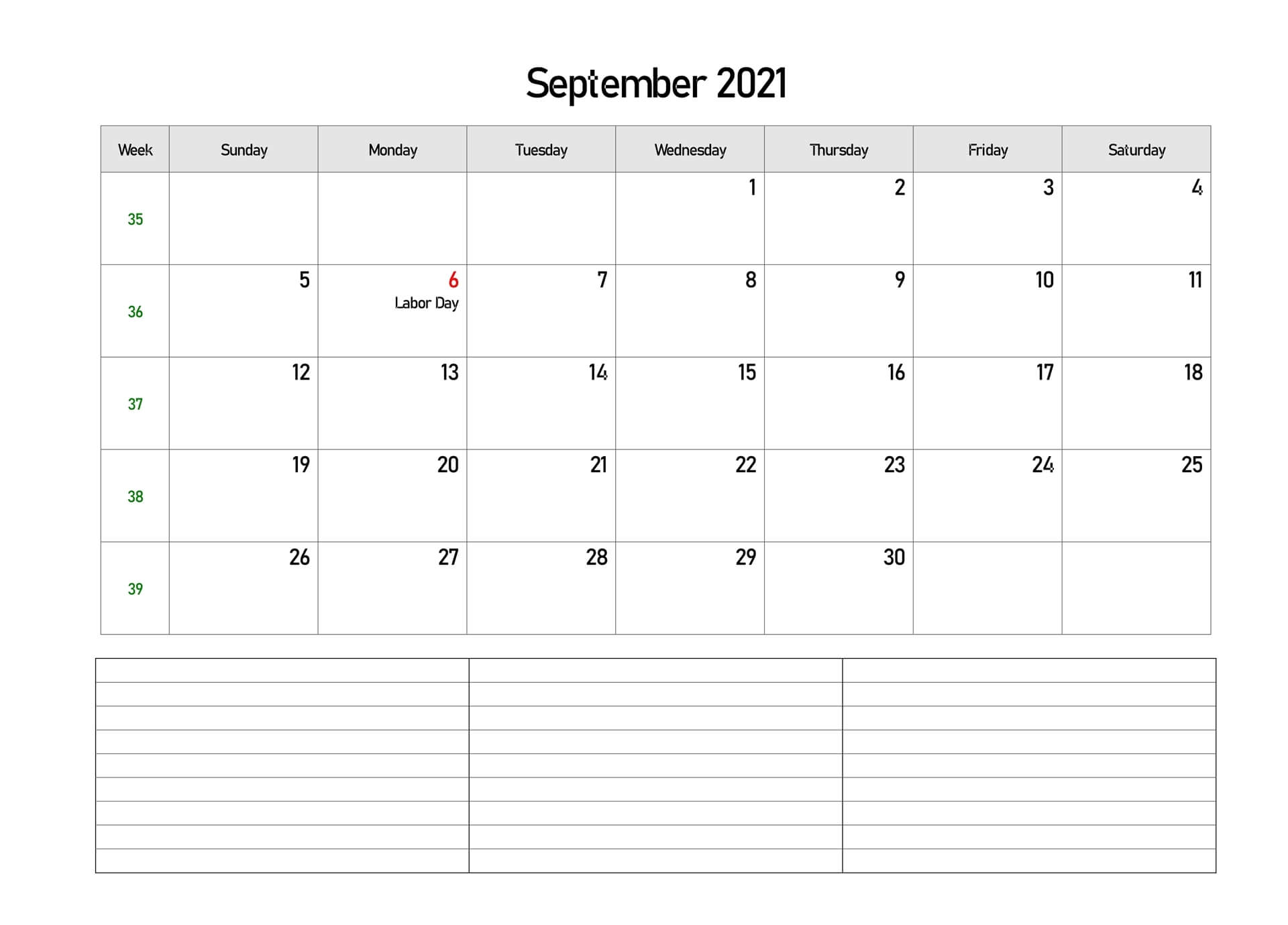 Editable September 2021 Calendar with Notes