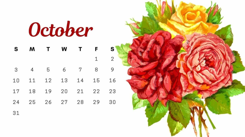 Floral October 2021 Calendar Wallpaper