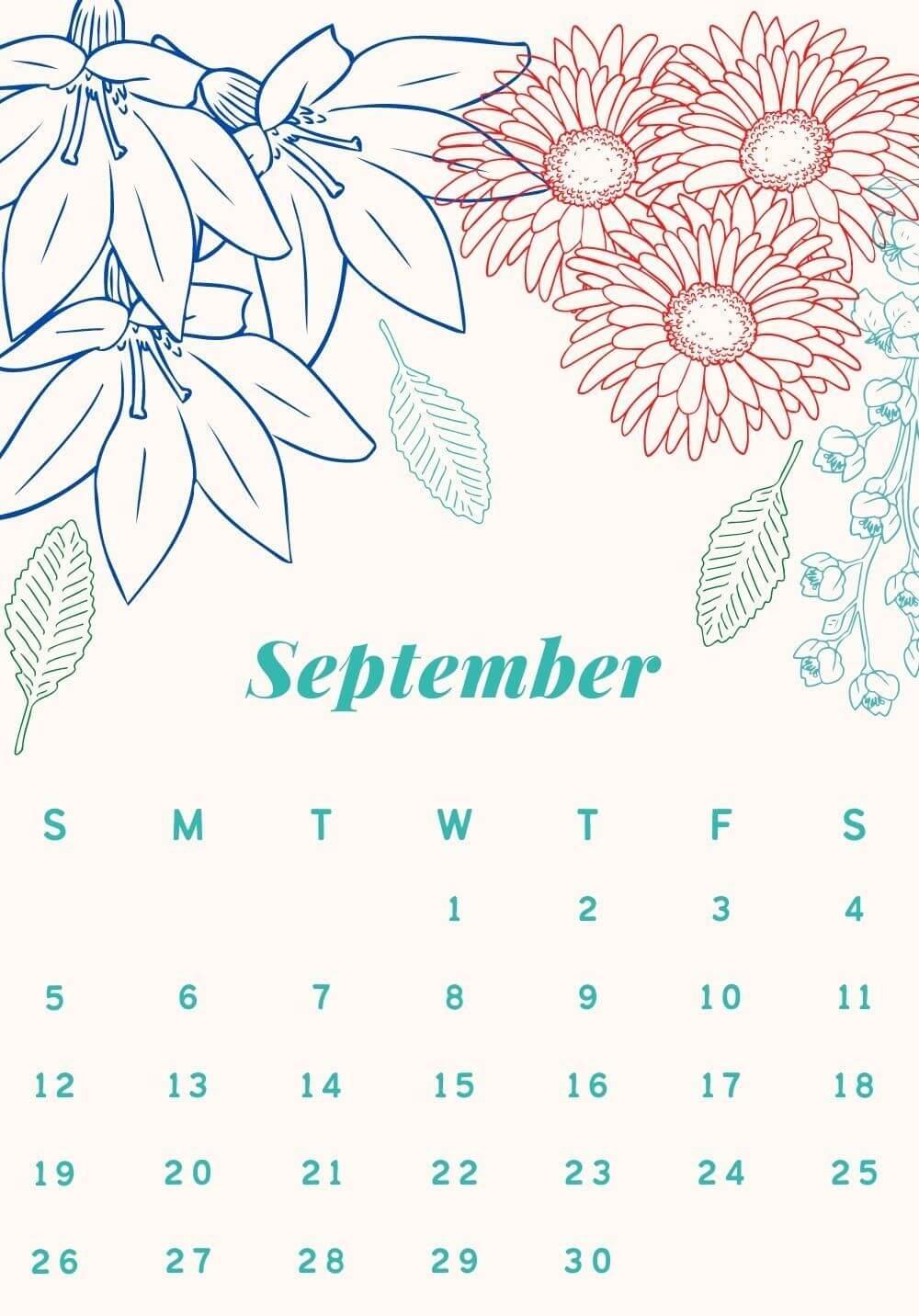 Floral September 2021 Wall Calendar