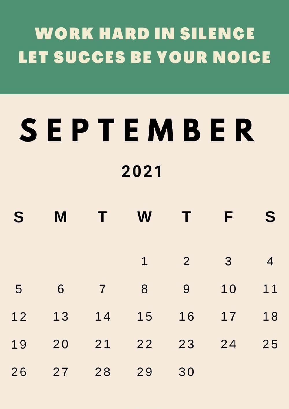 Free Inspiring September 2021 Calendar