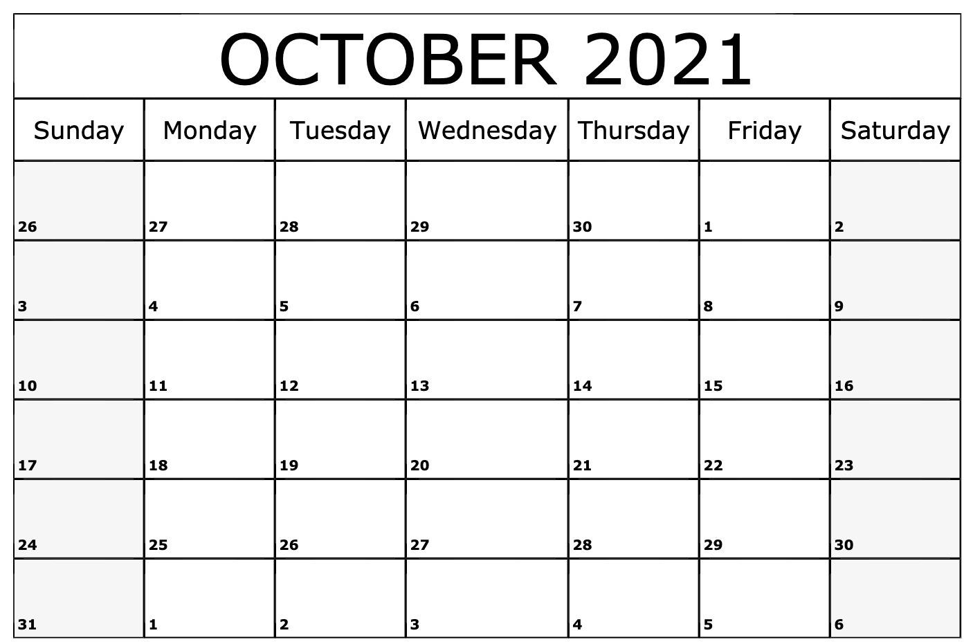 Free October 2021 Calendar Printable Template