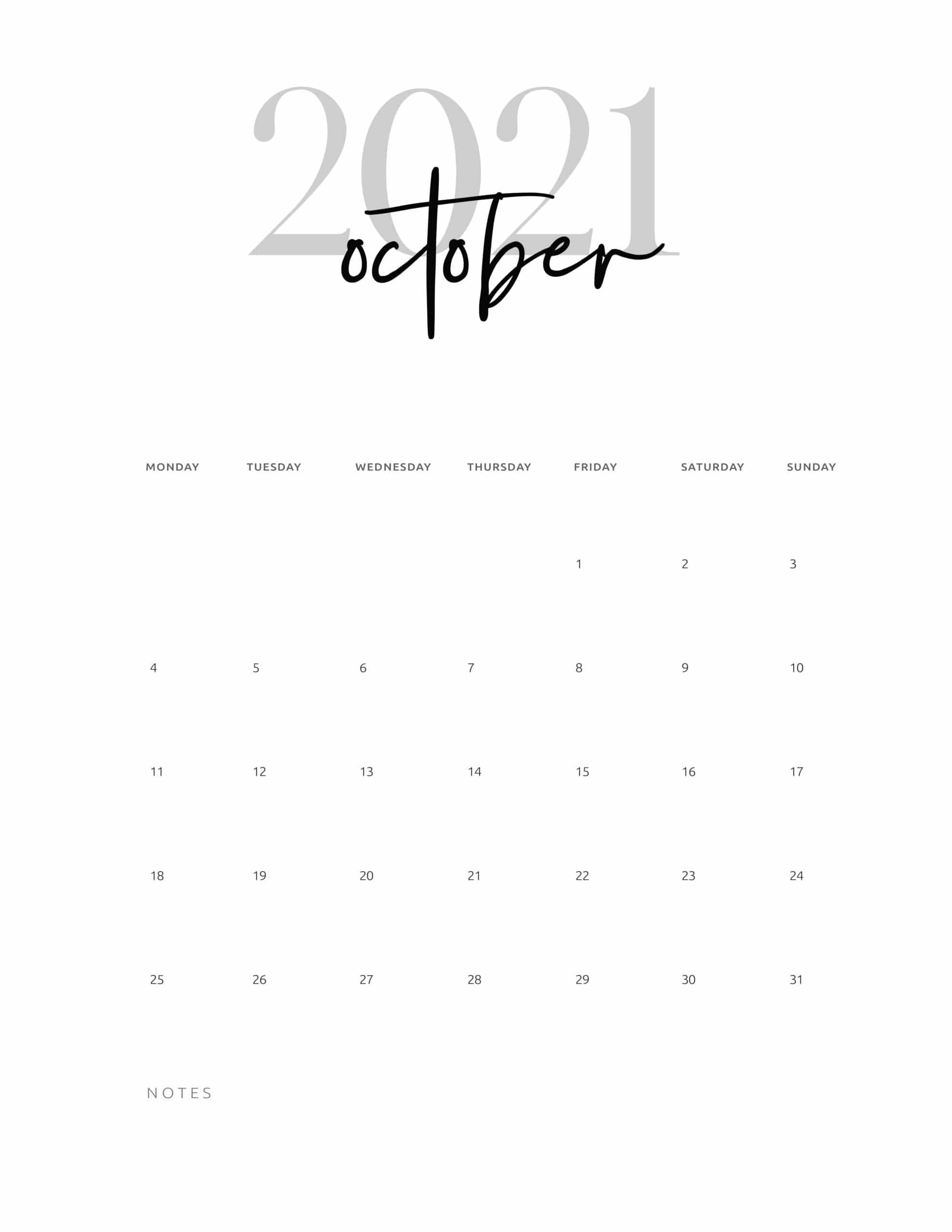Free Printable October 2021 Calendar Cute