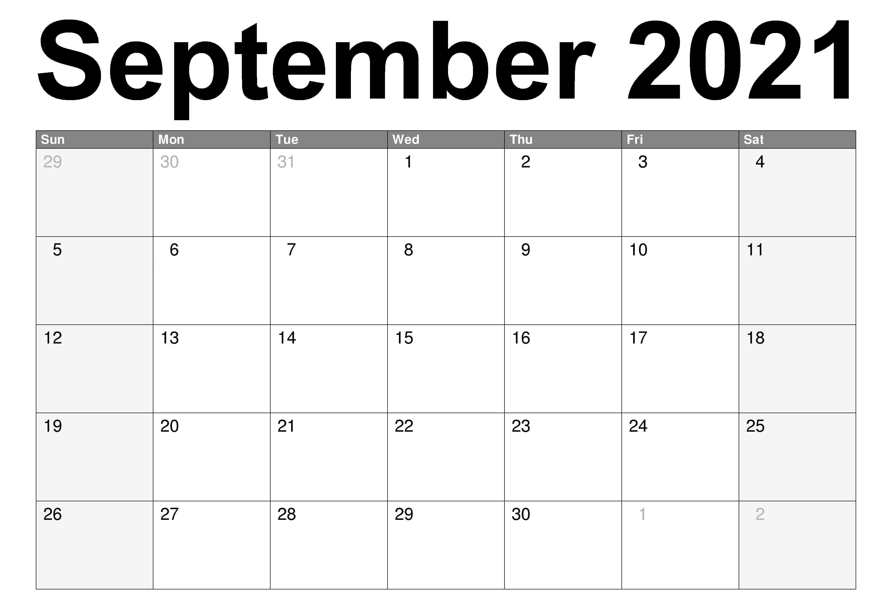 Free Printable September Calendar 2021