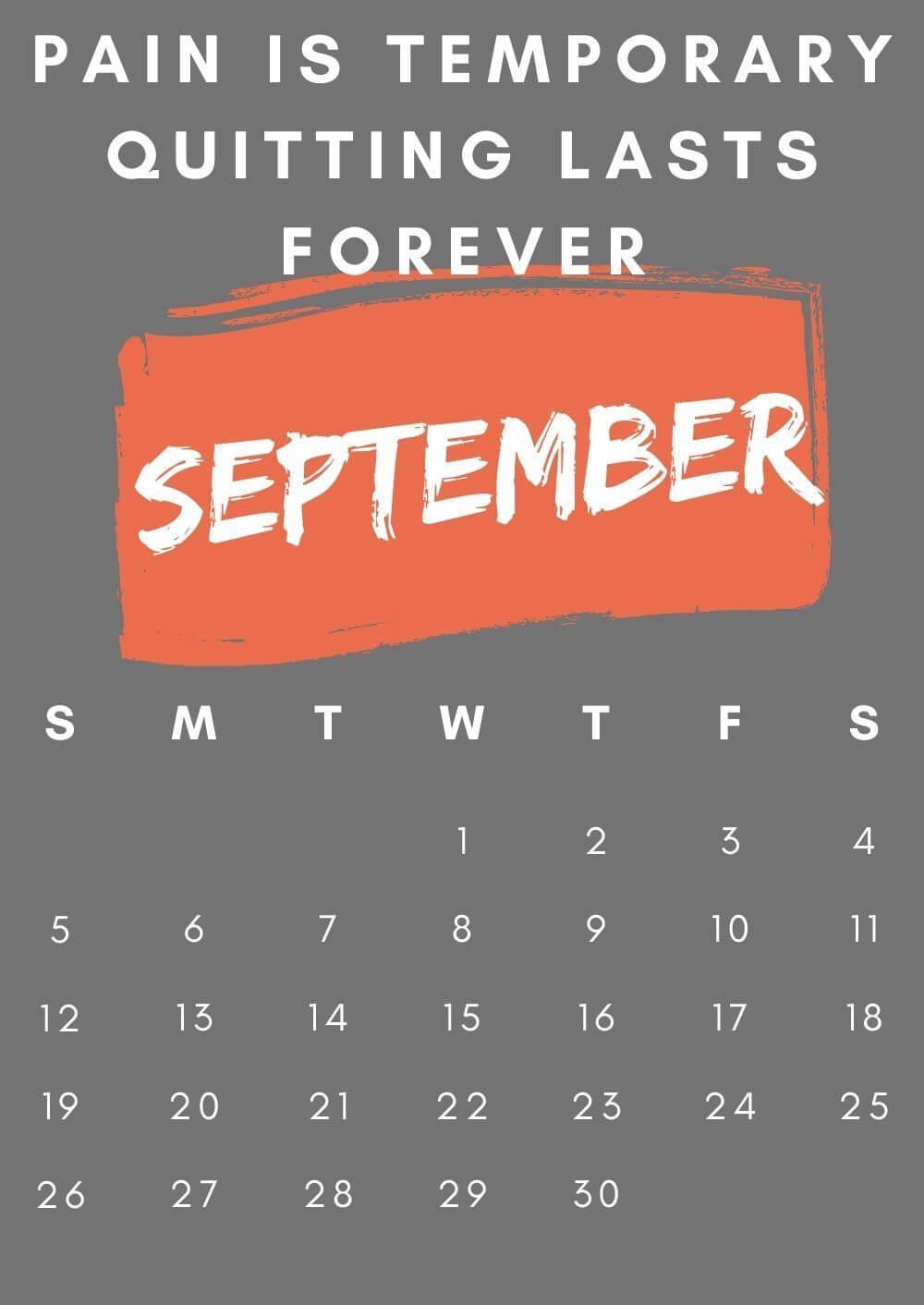 Inspirational September 2021 Calendar Cute