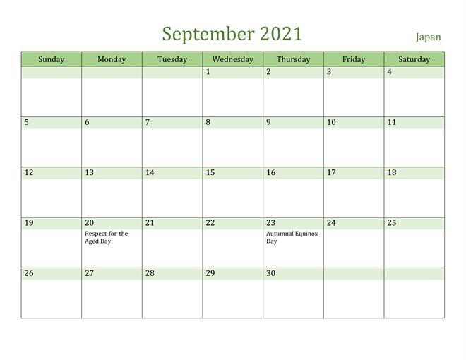 Japan September 2021 Calendar with Holidays