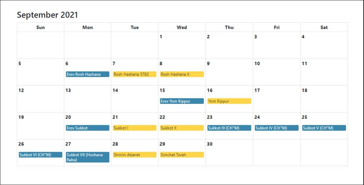 Jewish Holidays Calendar September 2021