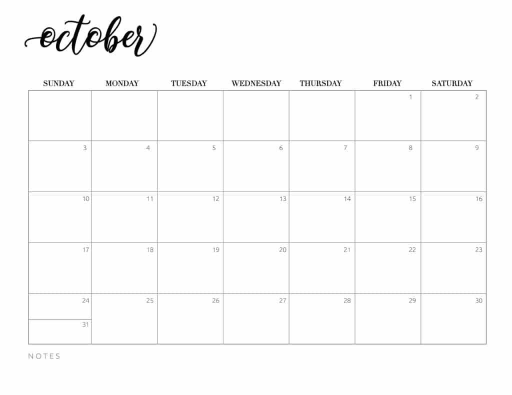 Monthly October 2021 Calendar Printable