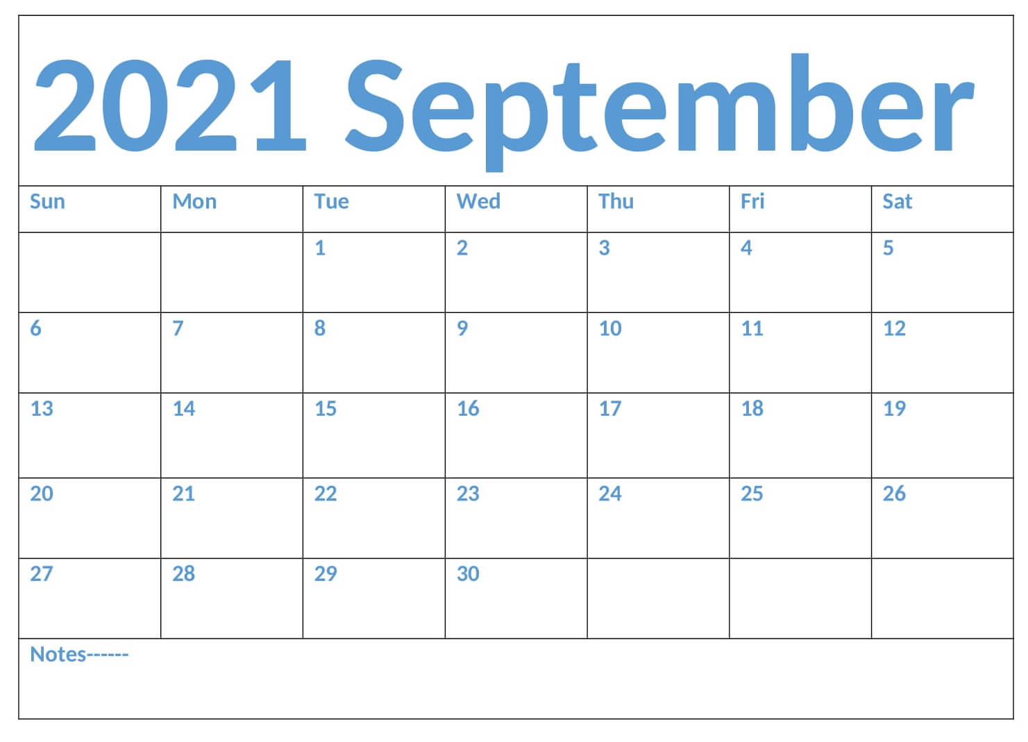Monthly Printable Calendar September 2021