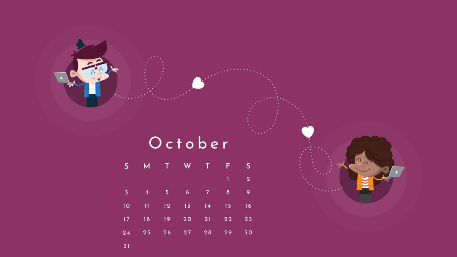 October 2021 Calendar Desktop Wallpaper