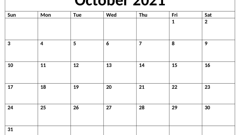 October 2021 Printable Calendar