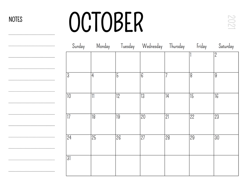 October 2021 Printable Calendar With Notes