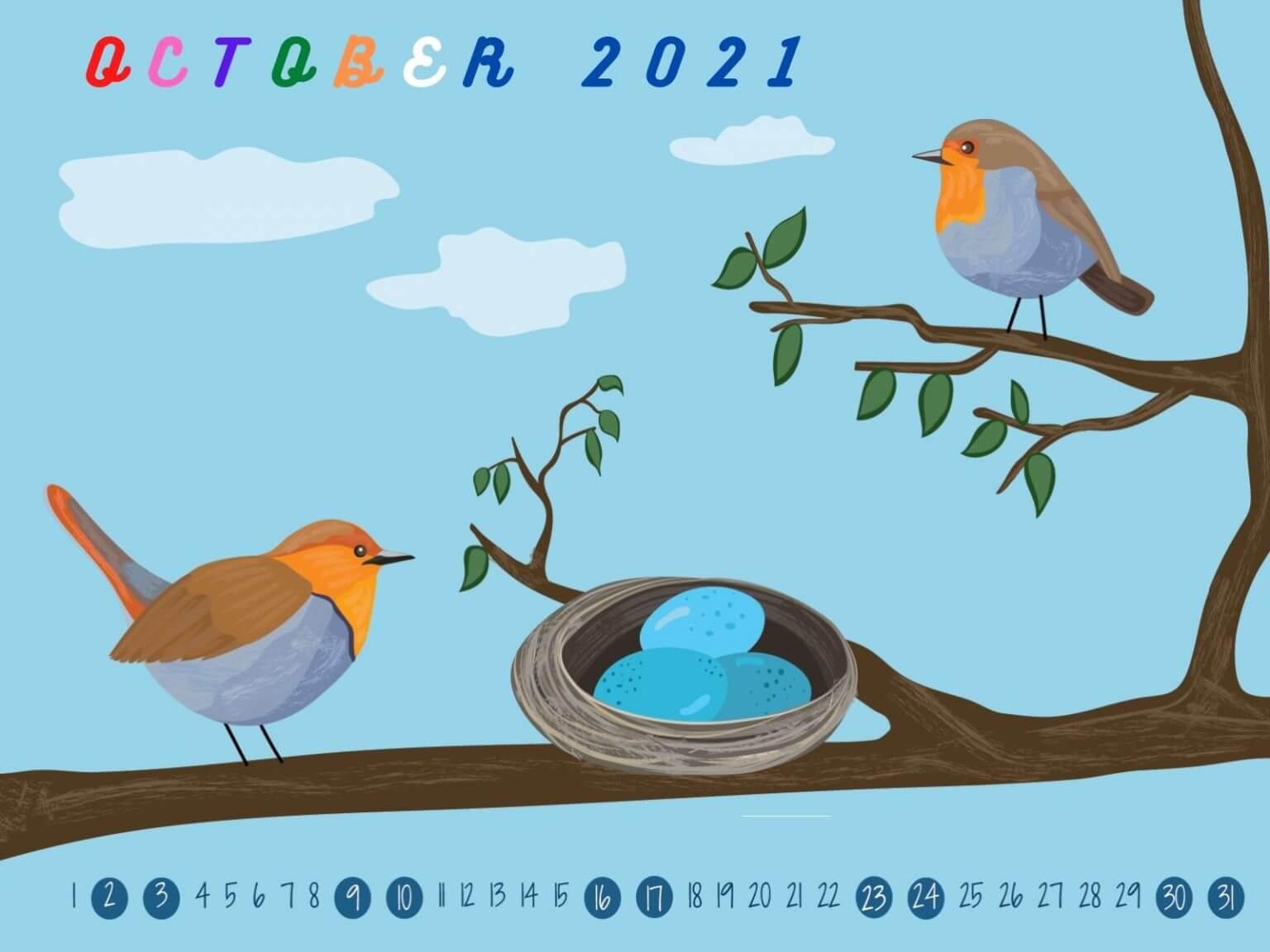 October 2021 Screensaver Background Calendar
