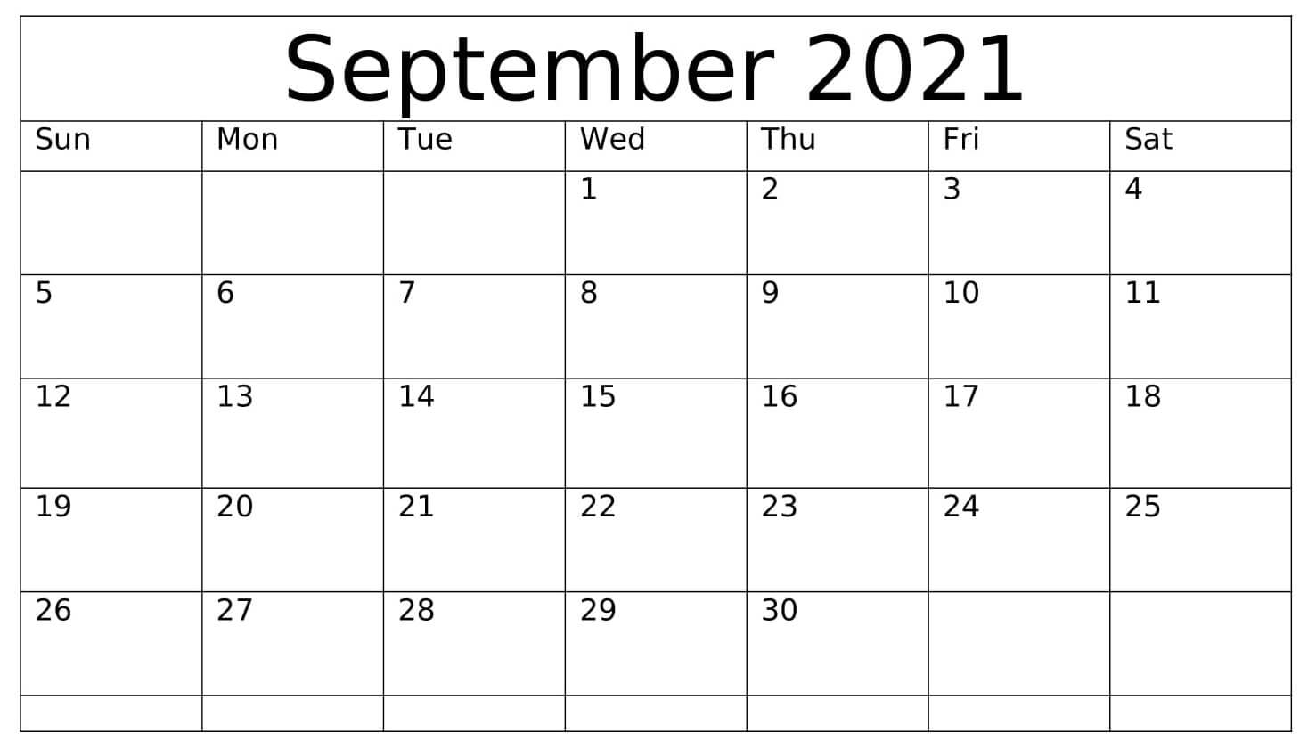 Print September 2021 Calendar A4 Size Landscape Format