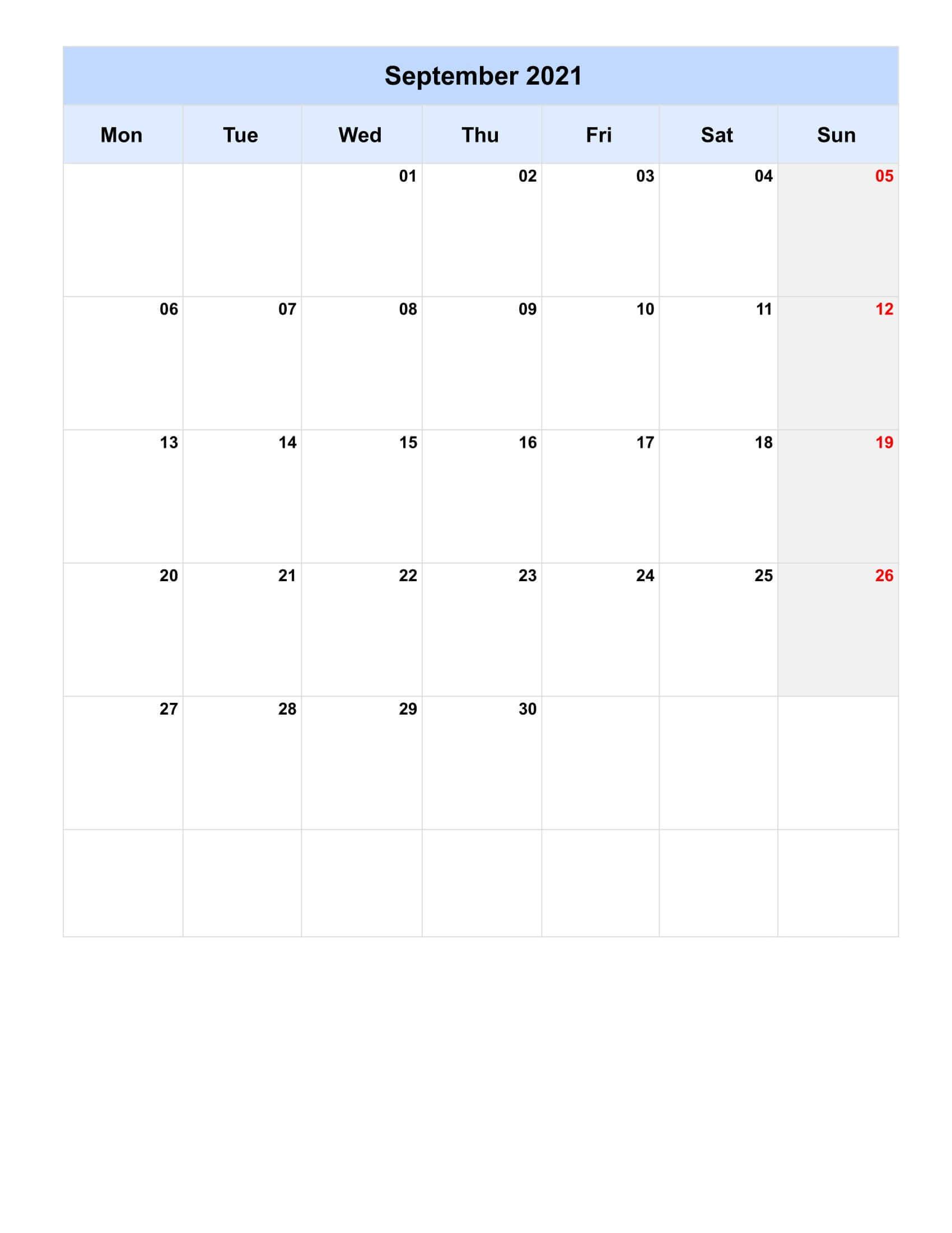 Print September 2021 Calendar Blank Portrait