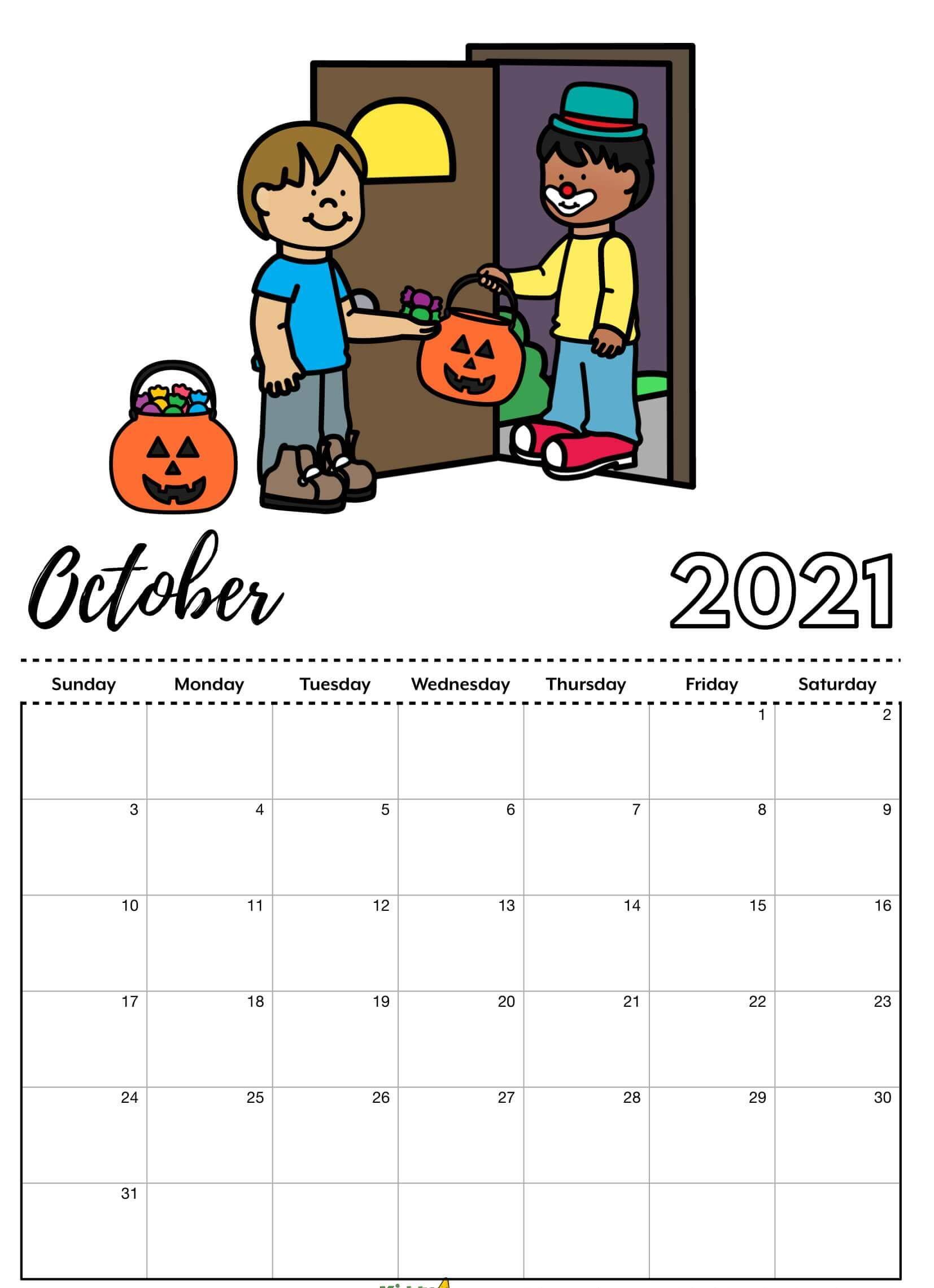 Printable October 2021 Calendar Cute For Kids