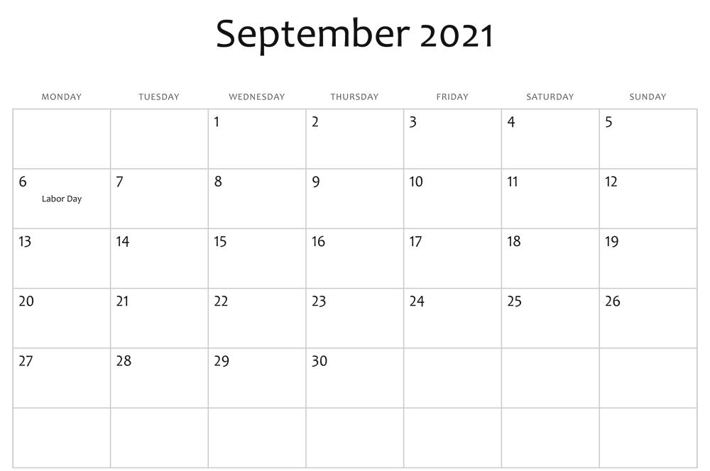 Printable September 2021 Holidays Calendar