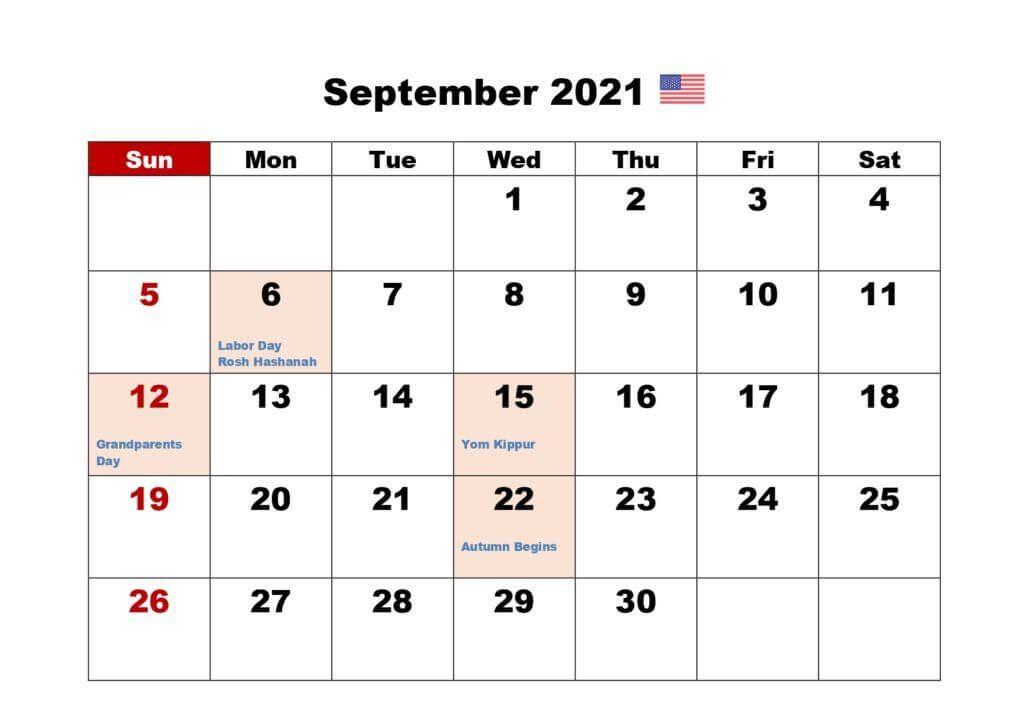 Printable September 2021 USA Holidays Calendar