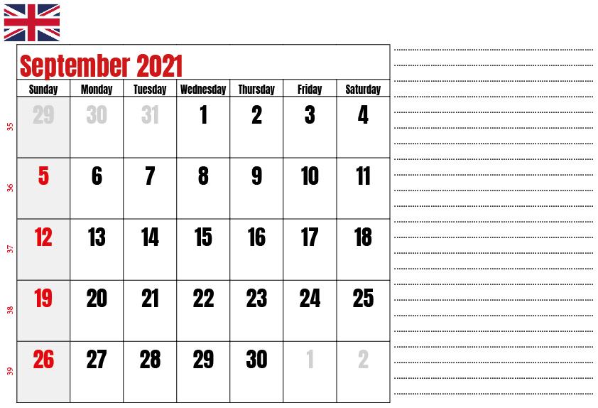 September 2021 Calendar With Holidays UK