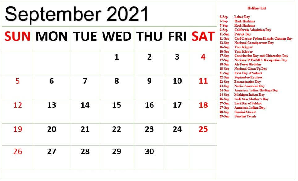 September 2021 Holidays Calendar Template
