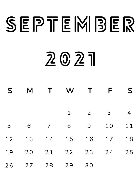 September 2021 Minimalist Calendar