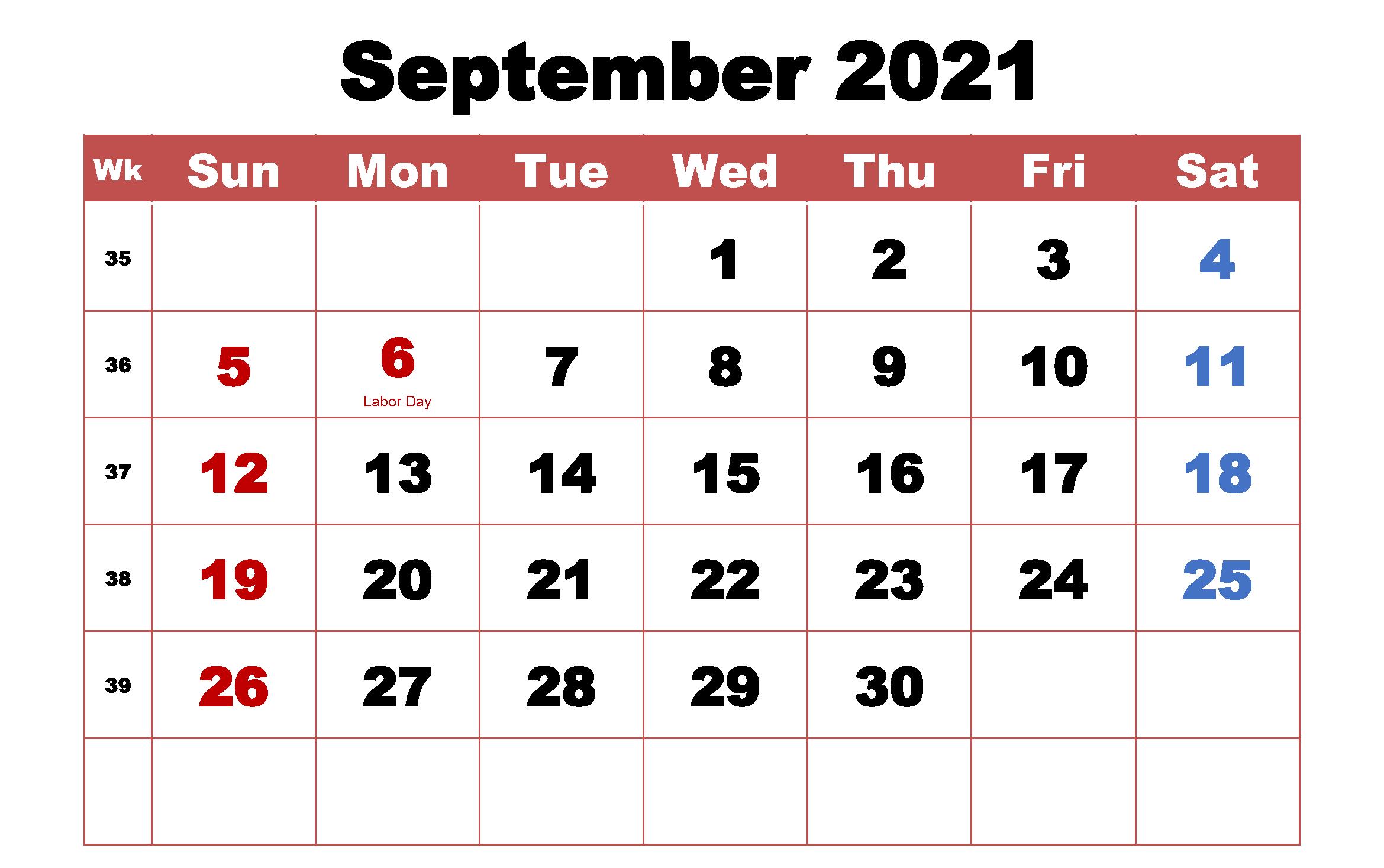 September 2021 Monthly Holidays Calendar