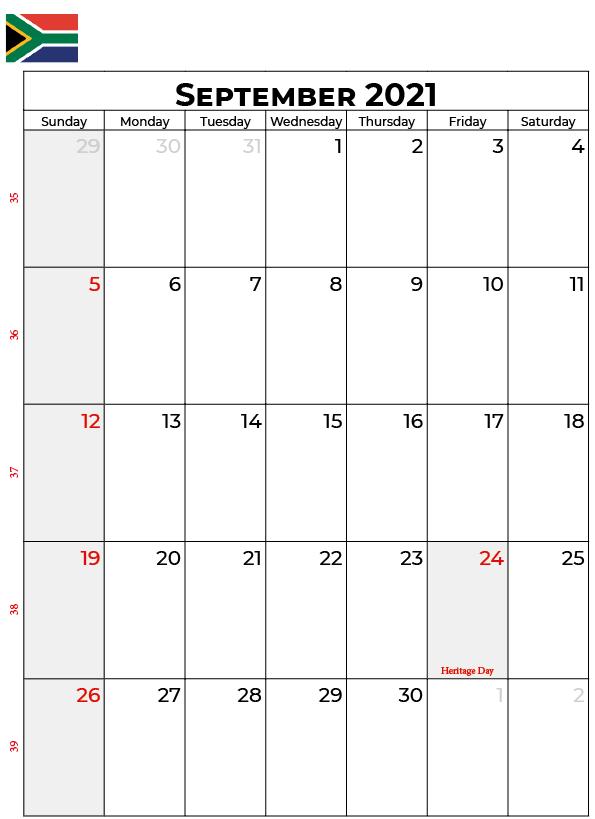 September 2021 South Africa Holidays Calendar