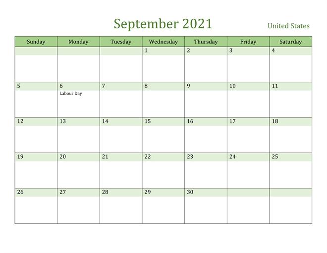 September 2021 USA Holidays Calendar