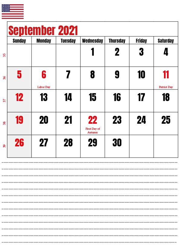 September 2021 USA Holidays Printable Calendar