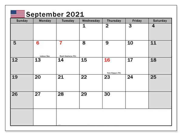 September 2021 with Holidays USA