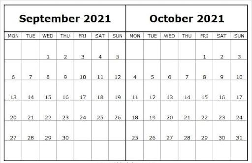 September October 2021 Printable Calendar