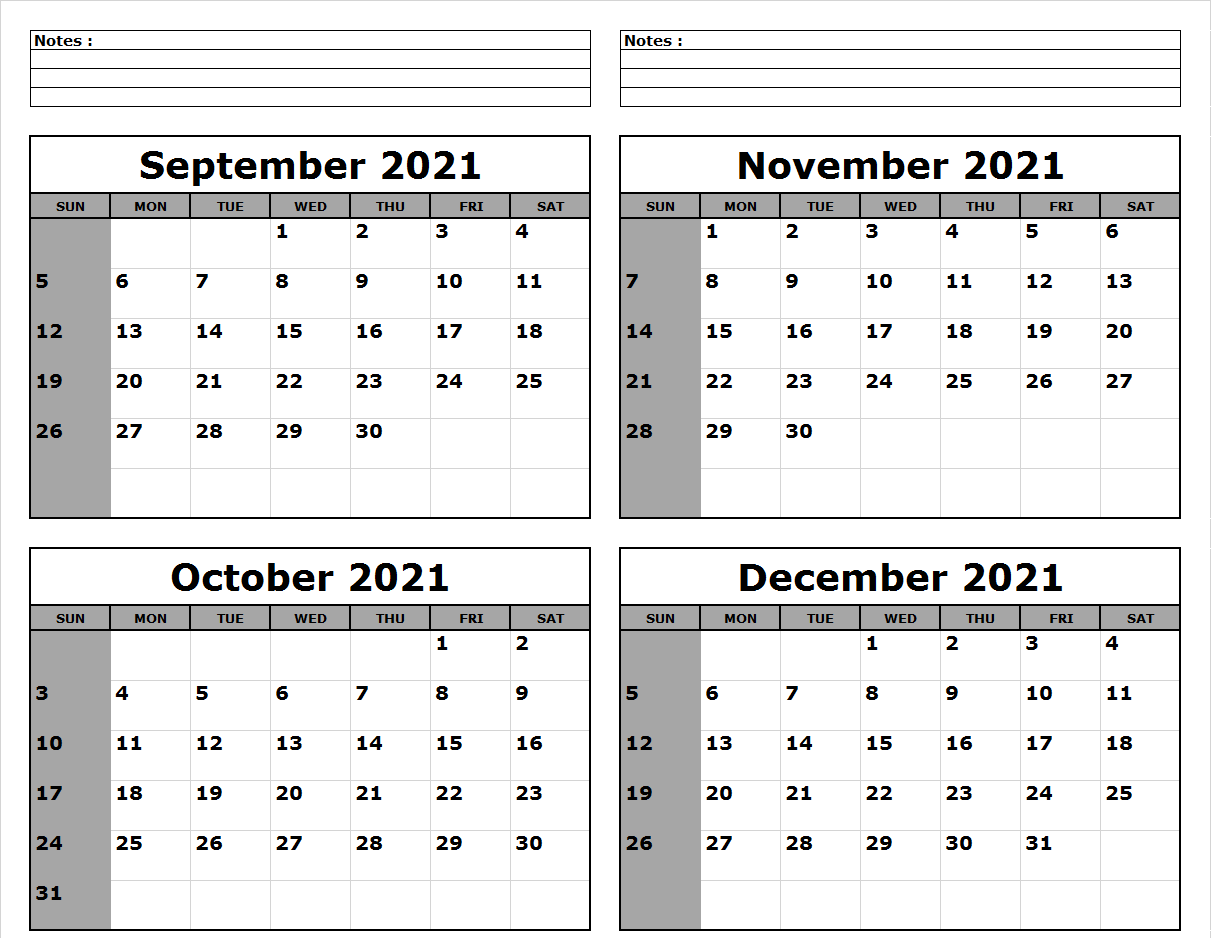 September October November December 2021 Calendar to Print