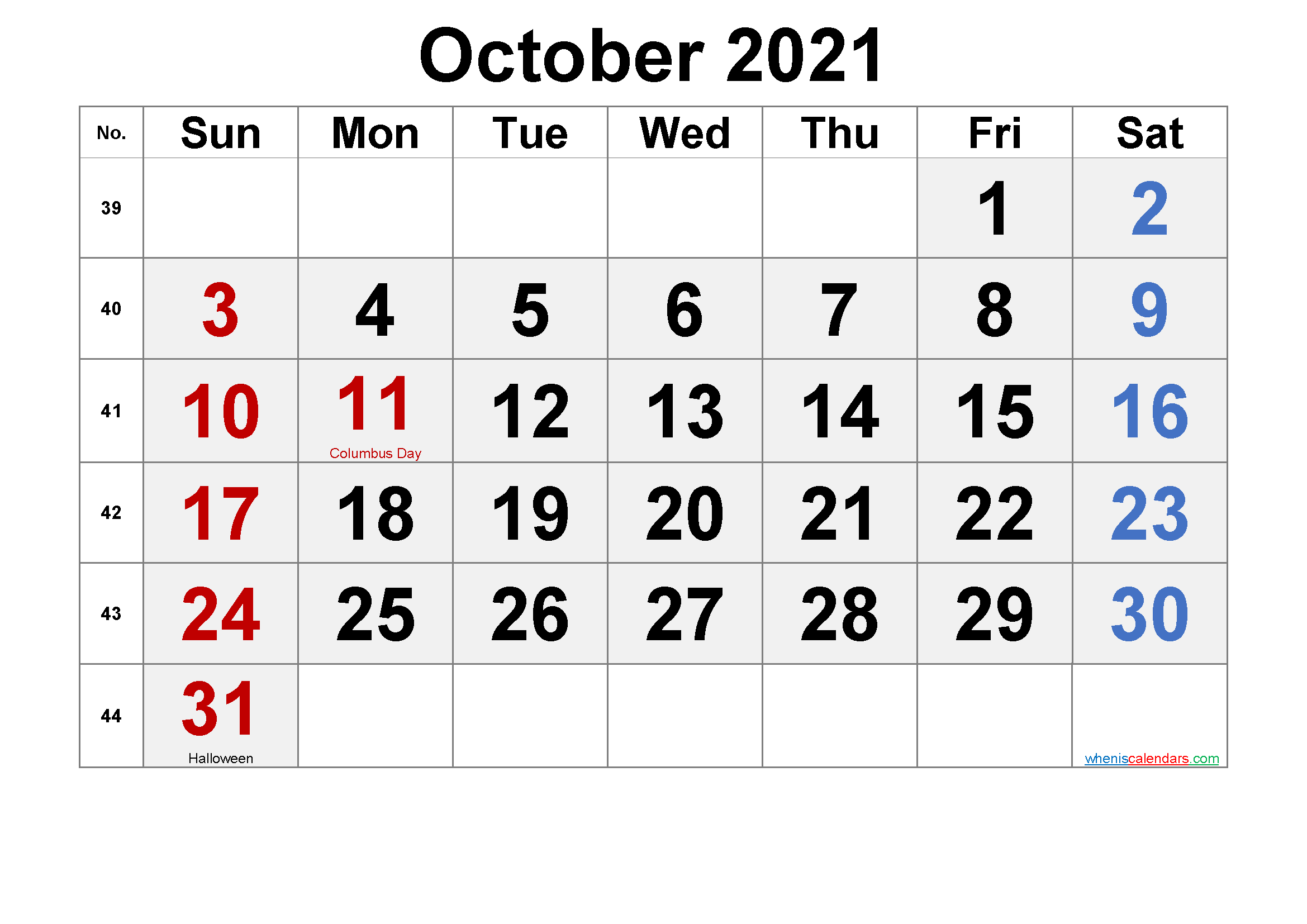 blank printable october 2021 calendar