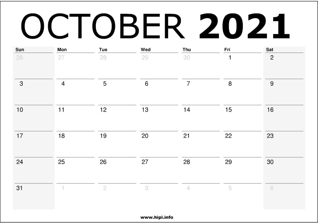 free printable october 2021 calendar template
