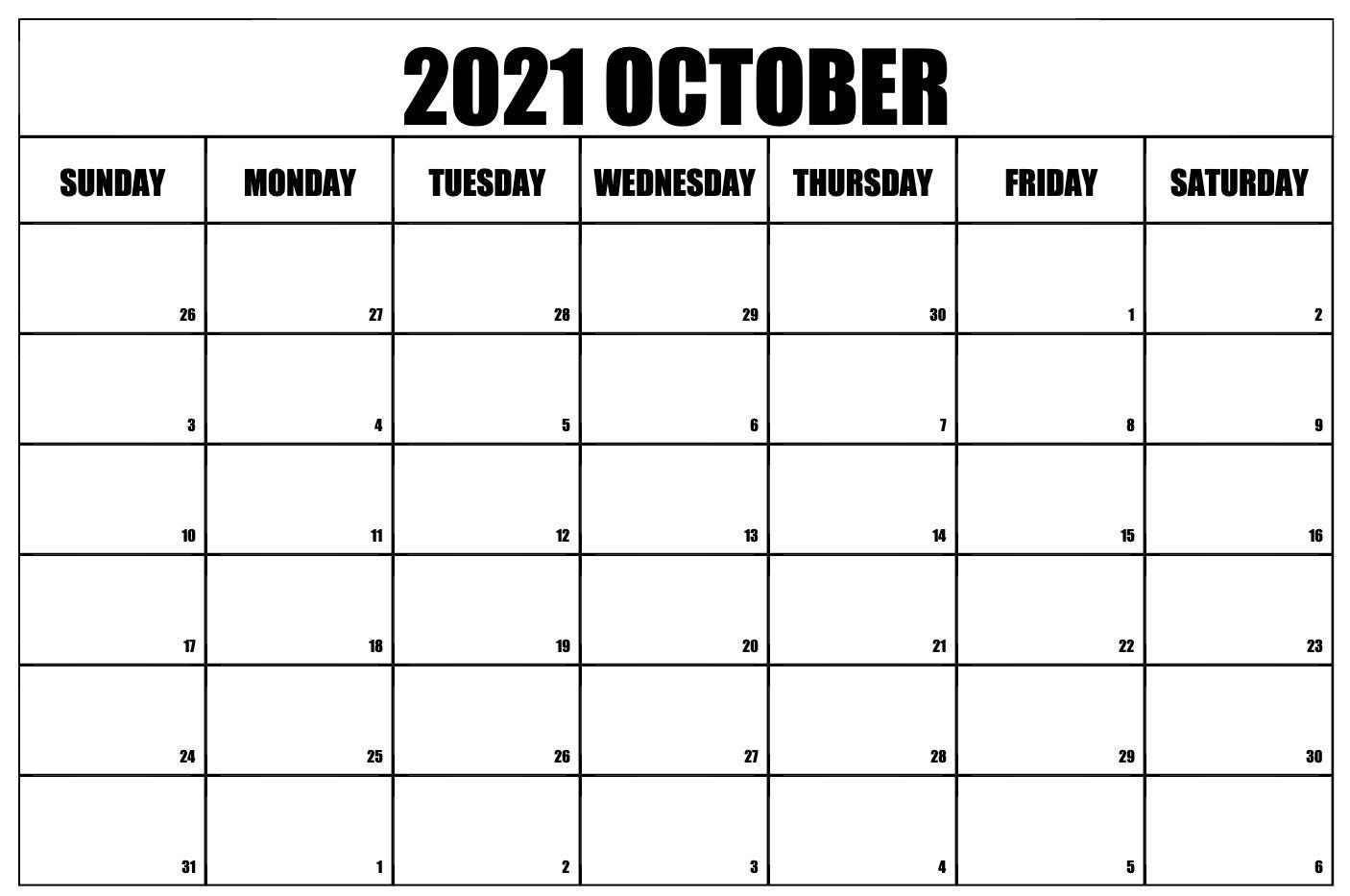 printable monthly calendar october 2021