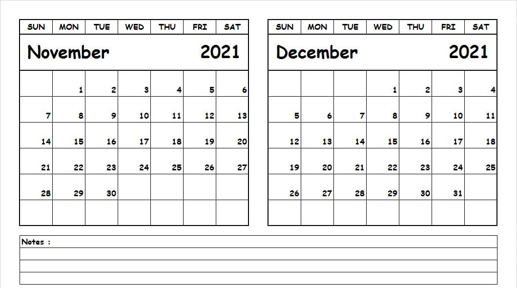 Blank Calendar November December 2021