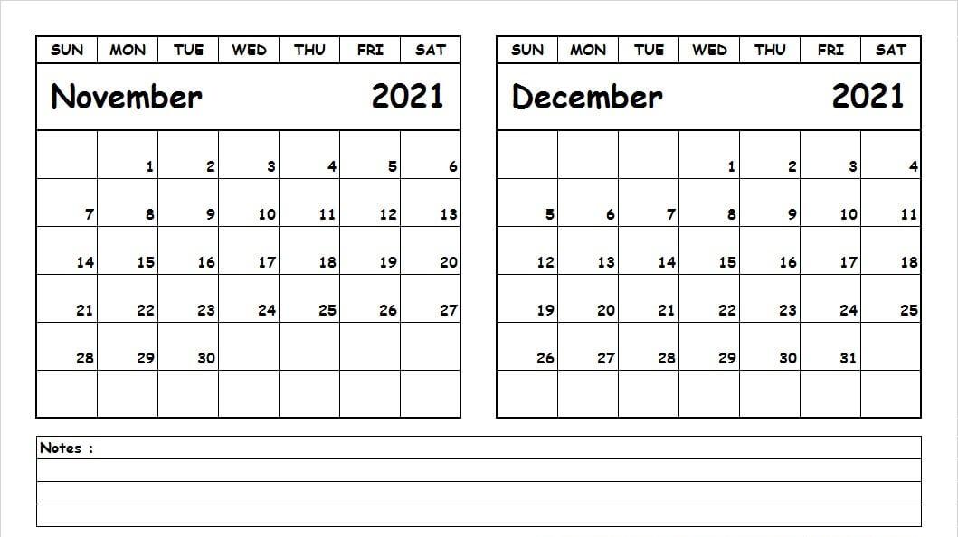 Calendar November December 2021