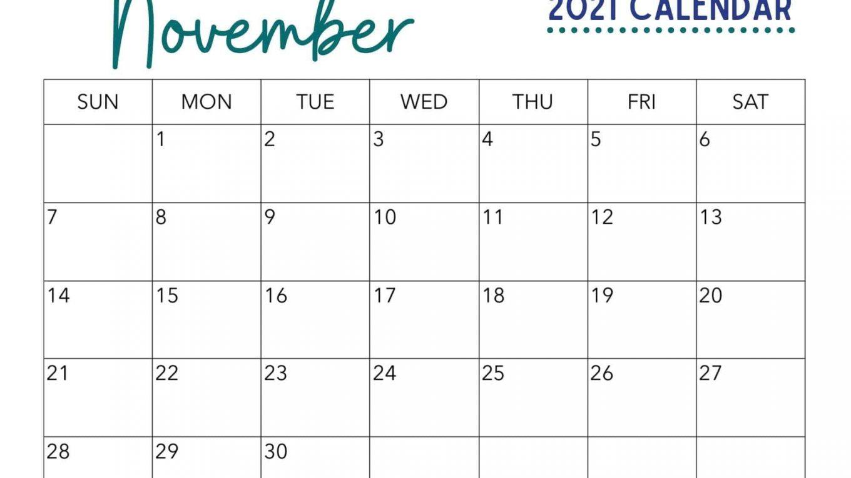 Fillable November 2021 Calendar Blank Template
