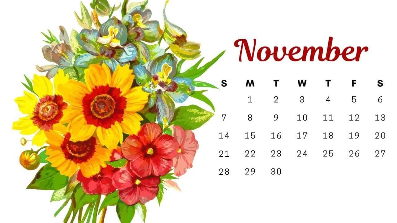 Floral November 2021 Calendar For Desktop