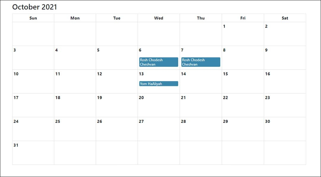 Jewish Holidays Calendar October 2021