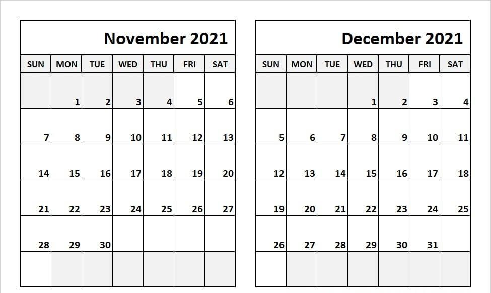 Nov Dec 2021 Calendar Template