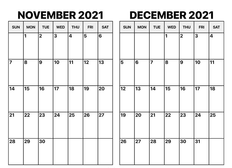 November December 2021 Blank Calendar