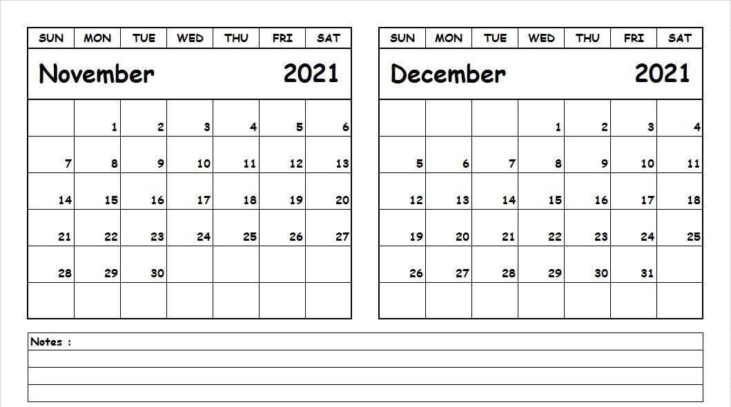 November December 2021 Calendar